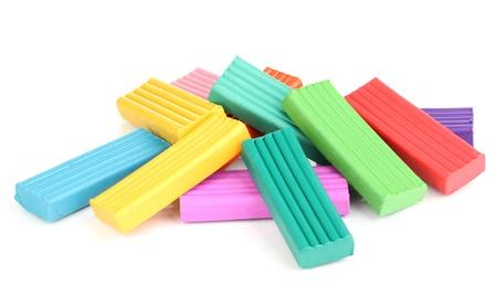 Children bright plasticine isolated on white Stock Photo - 14456910