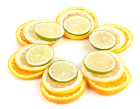Orange lime and lemon close up isolated on white photo
