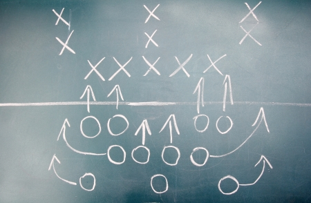 American football plan on blackboard photo