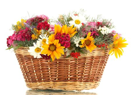 beautiful bouquet of bright  wildflowers in basket, isolated on white photo