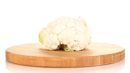 Fresh cauliflower on wooden board isolated on white Stock Photo - 14486174