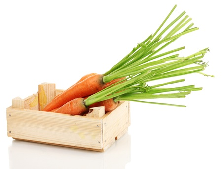 Carrots in crate isolated on white Stock Photo - 14486208