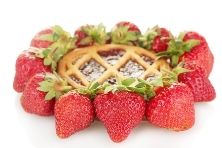 Tart garnished with strawberry isolated on white photo