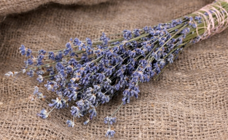 Lavender flowers on sackcloth photo