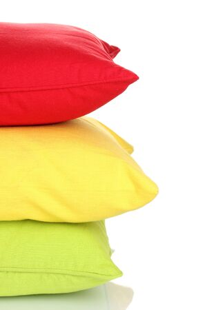 Bright color pillows isolated on white Stock Photo - 14519505