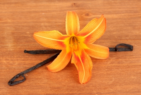 Vanilla pods with flower on wooden background