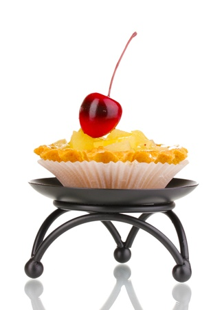sweet cake with fruits on saucer isolated on white Stock Photo - 14518214