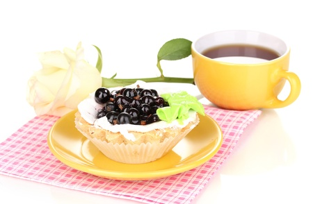 sweet cake with cup of tea isolated on white Stock Photo - 14518677