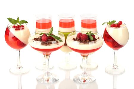 fruit jelly with chocolate and pberries in glasses isolated on white Stock Photo - 14518483