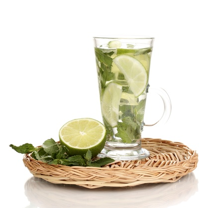 Mojito on the board isolated on white