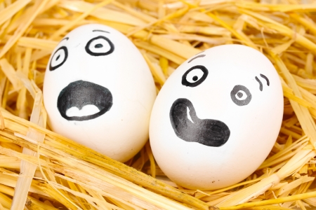 White eggs with funny faces in straw Stock Photo - 14531741