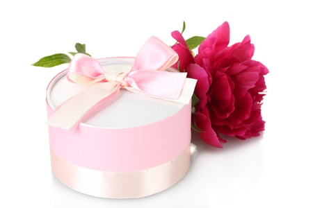 valentinas: beautirul pink gift and peony flower isolated on white Stock Photo