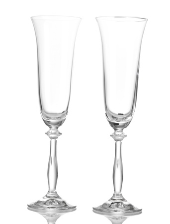 empty glasses for champagne isolated on white  photo