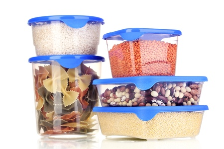 Filled plastic containers isolated on white photo