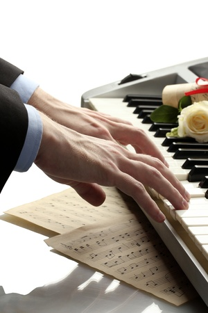 hands of man playing piano Stock Photo - 14539772