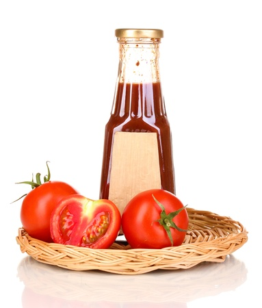 distinctive flavor: Tomato sauce in bottle on wicker mat isolated on white