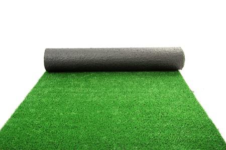 gazon synth�tique lamin� vert, isol� sur blanc Banque d'images