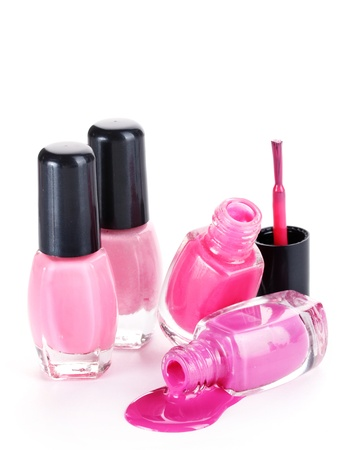 open bottles with bright nail polish isolated on white Stock Photo - 14539318