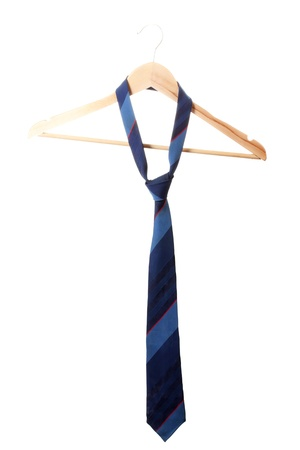 ironed: Elegant blue tie on wooden hanger isolated on white