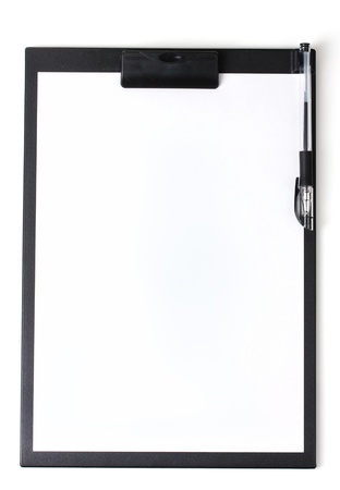 mark pen: Clipboard with blank paper and pen isolated on white