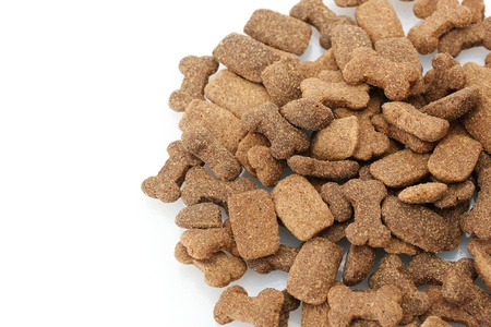 dry dog food isolated on white photo