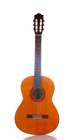 musical instrument: retro guitar isolated on white Stock Photo