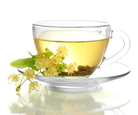 cup of linden tea and flowers isolated on white Stock Photo - 14606648