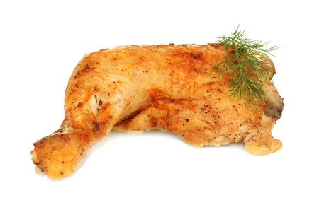 chicken leg: roasted chicken leg with dill isolated on white