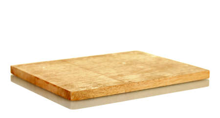 wood cut: Cutting board isolated on white close-up Stock Photo