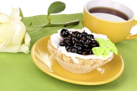 sweet cake with cup of tea close-up Stock Photo - 14608070