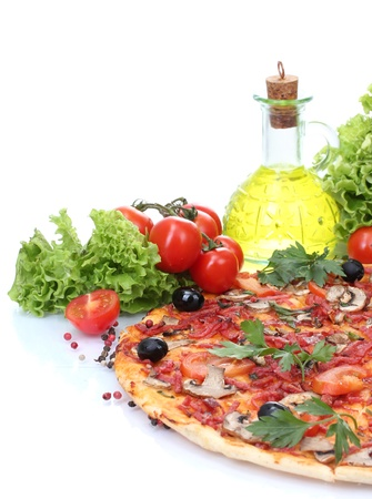 pizza pie: delicious pizza and vegetables isolated on white