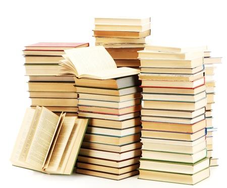 sachant lire et �crire: vieux livres isol� sur blanc