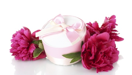 beautirul pink gift and peony flowers isolated on white photo