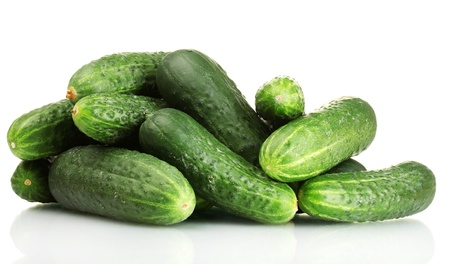 fresh cucumbers isolated on white Stock Photo - 14678456
