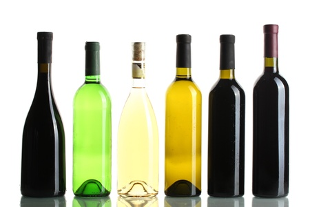 bottles of wine isolated on white photo