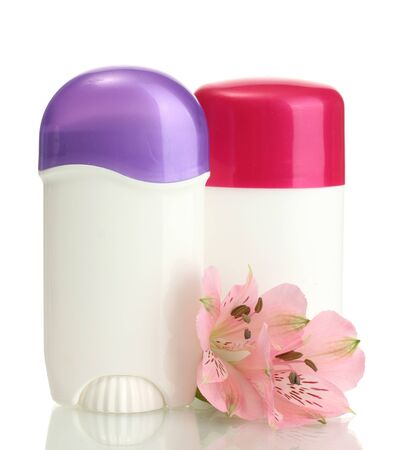 deodorants with flowers isolated on white photo