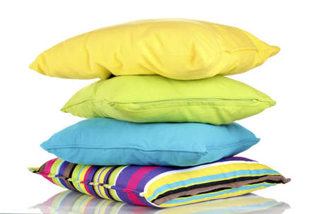 Bright color pillows isolated on white Stock Photo - 14679114