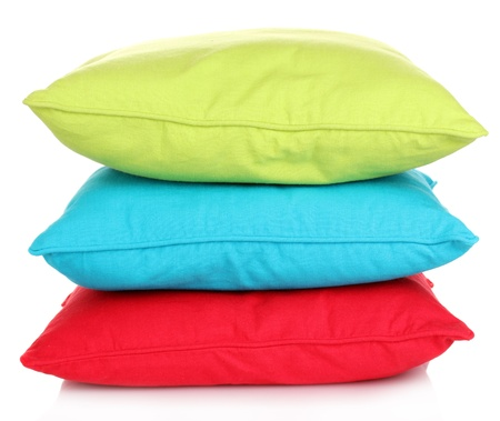 cushion: Bright color pillows isolated on white