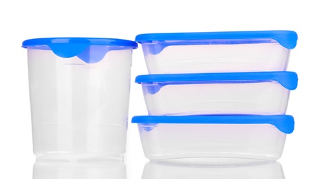 Plastic containers for food isolated on white Stock Photo - 14678025