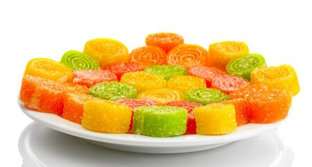 colorful jelly candies on plate isolated on white  photo