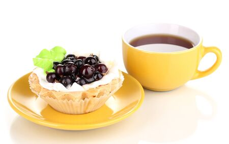 sweet cake with cup of tea isolated on white Stock Photo - 14692190