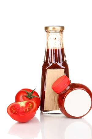 distinctive flavor: Tomato sauce in bottles isolated on white