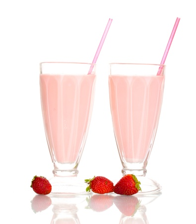 Strawberry milk shakes isolated on white photo