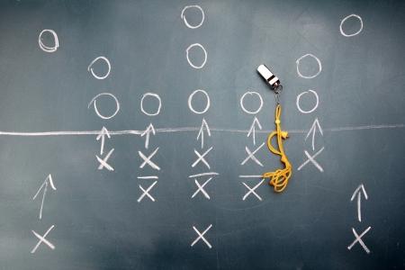 american football background: American football plan on blackboard