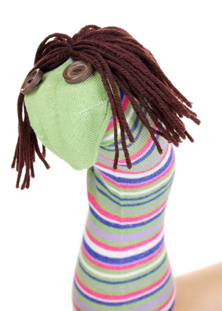 Cute sock puppet isolated on white Stock Photo - 14706474