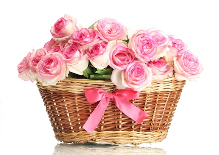 beautiful bouquet of pink roses in basket, isolated on white Stock Photo - 14694482