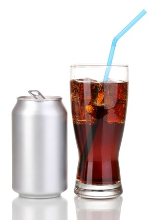Open aluminum can and glass of cola isolated on white  photo
