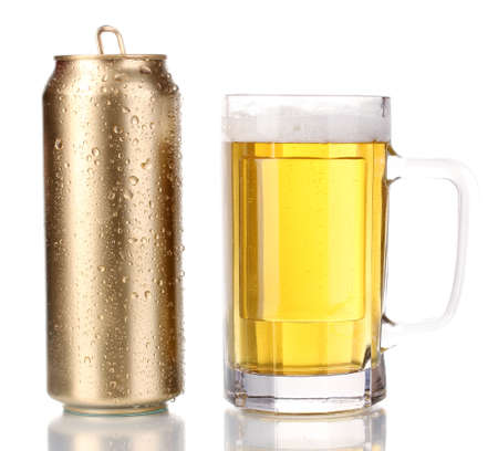 beer can: Golden can and beer glass isolated on white