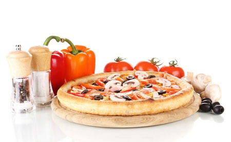 Aromatic pizza with vegetables and mushrooms isolated on white photo