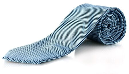 Blue tie isolated on white Stock Photo